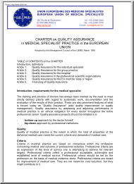 Charter on Quality Assurance in Medical Specialist Practise in the European Union