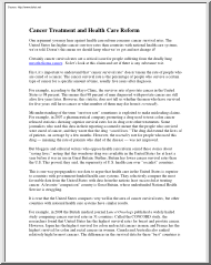 Barbara O Brien - Cancer Treatment and Health Care Reform