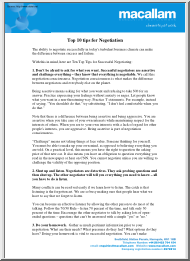 Top 10 tips for Negotiation