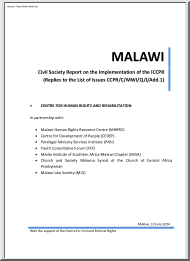 Civil Society Report on the Implementation of the ICCPR
